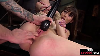 Flexible bdsm sub ass and pussy fucked while bound in rope