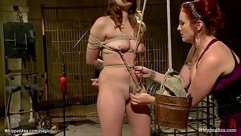 Mummified lesbian slave hard caned