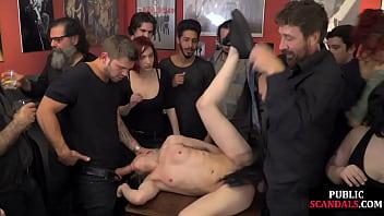 BDSM slut publicly fucked in bar in front of voyeurs