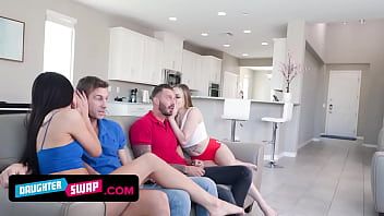 Two Hot Teen Sluts Decide To Earn Some Money By Swapping Their Stepdads And Make Naughty Videos