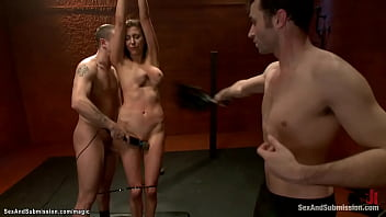 Shackled busty babe rough anal fucked