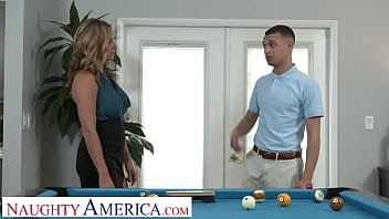 Naughty America - Hot blonde Milf Kenzi Foxx hustle's the pool table cleaner into fucking her wet pussy