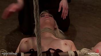 Tied blonde to spreader bar fingered
