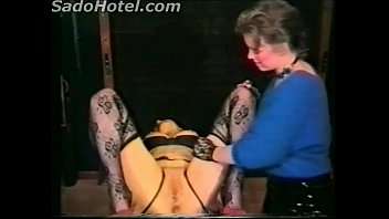 Mistress hit horny slave with a whip on her pussy and tits and spanks her on her ass