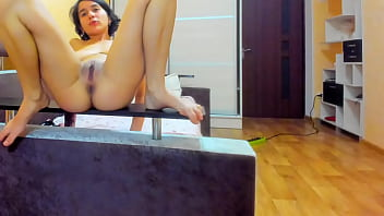 Hot striptease. Myla Angel in red dress, pussy spreading, fingering, playing with tits! 12 min