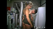 Young french blonde anal fucked in threesome with Papy Voyeur