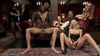 Ebony and blond serve and fuck at party