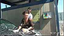 Beautiful french brunette in fishnet anal fucked outdoor at the carwash