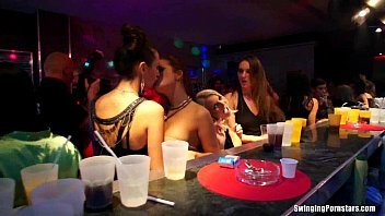Lesbians have fun in club 9 min