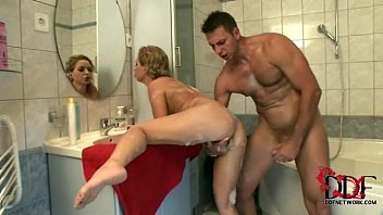Hot blonde babe Jaquelinne rides a big dick in the shower