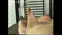 Slave with hairy armpits and her legs spread gets ropes tied around her nipples by master