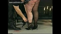 German master hits dirty fat slave in his dungeon on her huge ass with a whip
