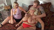 Chubby twin blonde orgy sex with lucky man