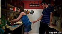 Amorous and wild kitchen sex