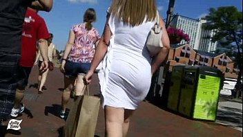 Walking Behind Her Big Butt White Dress!