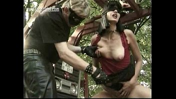 Brunette slave with nice tits gets spanked on her ass and fucked by masked in her wet and tight
