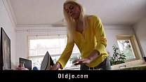 Young blonde babe fucks hers grandpa boyfriend