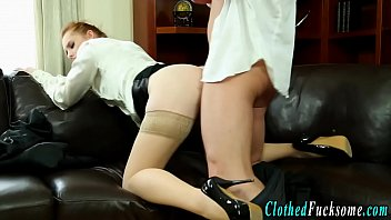 Clothed stocking babe