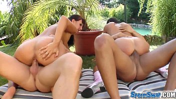 Sperm Swap Picturesque pond fucking for two hot babes