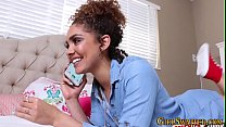 Ebony teen face spermed