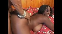 Black stud fucks a chick in the ass and cunt and creams her after BJ