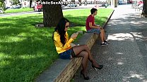 Busty chick in stockings masturbates in the street