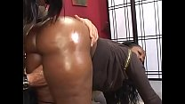 Thick ebony skank Beauty Dior rides a white cock then gets cum all over her big ass indoors