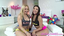 SWALLOWED Sarah and Vicki Chase sloppy blowjob on fat pole