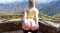 Hot Blonde Tourist Flashing Her Big Booty Outdoors Tenerife!