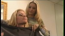 Couple of playful blonde hairdressers Summer Haze and Monique Alexander improve upon their linguistic skills waiting for visitors