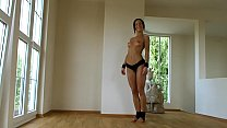 Sporty BDSM model Alex Zothberg topless workout before getting whipped