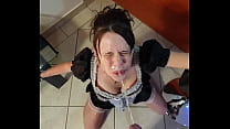 French maid gets piss in her face and cleans it