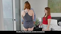 Redhead Milf (Lauren Phillips) And Step Daughter (Cleo Clementine) Threesome With Hot Dad