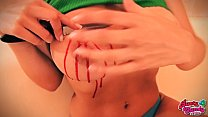 Big-Ass and Busty Blonde Teen Playing With Knife on Her Body