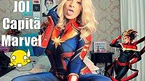 Joi Portugues Cosplay Capita Marvel SEX MACHINE, fazendo Boquete Garganta profunda Gozando Nos peitos e Gozando na Bunda AMAZING JOI