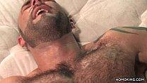 Hairy muscular men having sex