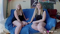 Chubby blonde Marta finally convinces her cousin Andrea to have a threesome