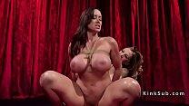 Busty slave got big ass spanked in lezdom