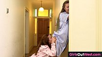 Hairy lesbian housemates fuck in the morning