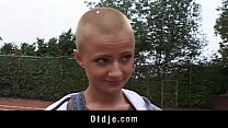Sexy short haired student sucking grandpa dick