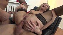 Pretty slut in black stockings anal banged