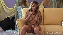 Dark Skinned Inked Hottie Sky Lopez Rubs Her Delicious Pussy