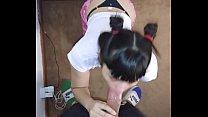 Nenita argentina muy tierna con 2 colitas mamando una verga y cogida en 4 patas