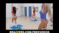 Slutty blonde aerobics teacher rides her student's big-cock