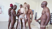 5on1 interracial - Tall glamour babe Belle Claire DAP with BBC and 5 Swallows