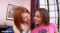 Short haired lesbians Aly and Lilly have fun with a big dildo by Sapphic Erotica