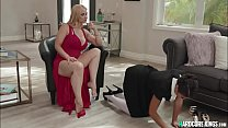 Bossy MILF in threesome with stuff
