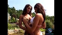 Bosomy lesbians Angel Dark and Bianca drilling dildo to orgasm