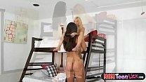 Tiny teen Piper Perri scissors her hot MILF stepmom