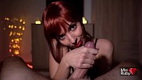 Redhead College Babe Gives Amazing Blowjob After Party